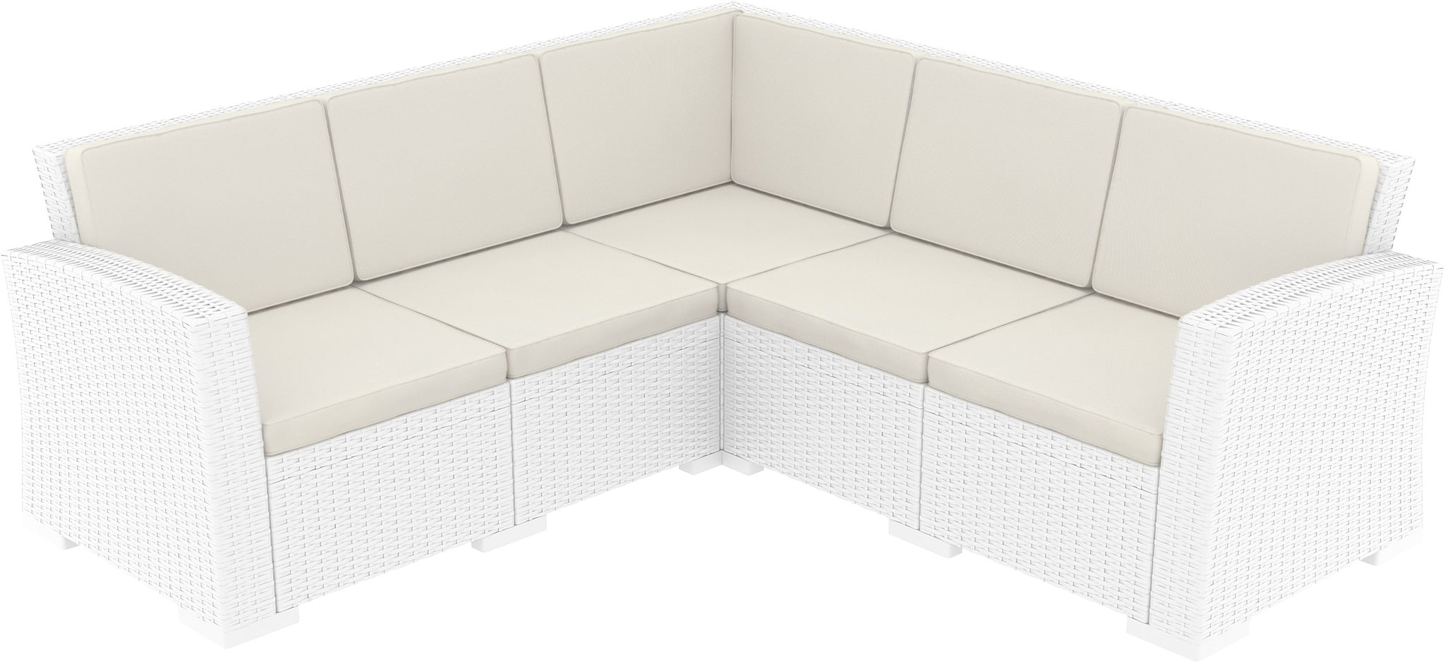 Awe Inspiring Monaco Resin Patio Sectional 5 Piece White With Cushion Pack Of 1 Set Forskolin Free Trial Chair Design Images Forskolin Free Trialorg