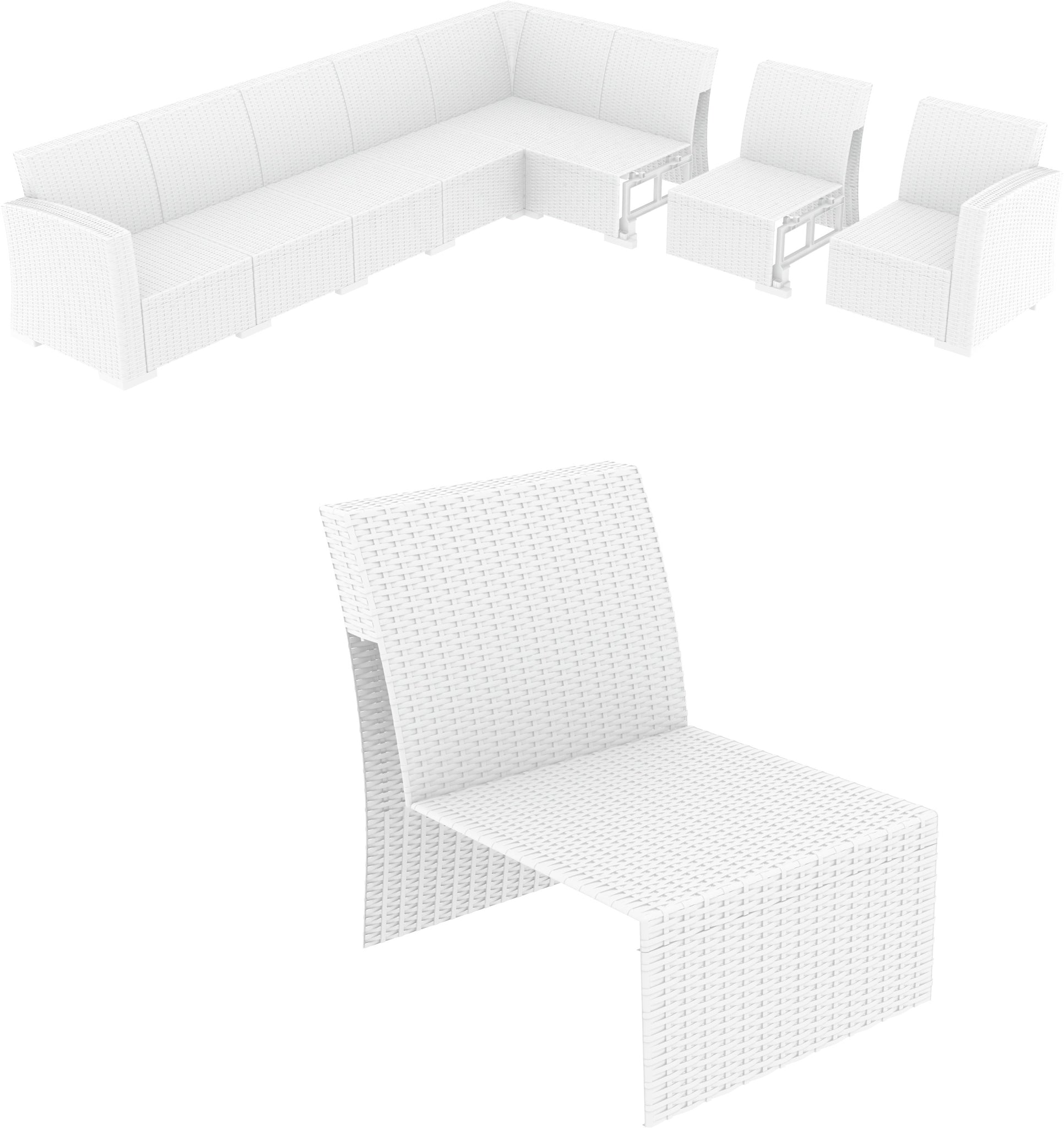 Monaco Sectional Extension Part White with Cushion Pack Of - 1