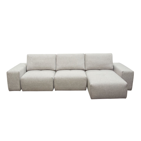 Jazz Modular 3-Seater Chaise Sectional with Adjustable Backrests in Light Brown Fabric by Diamond Sofa