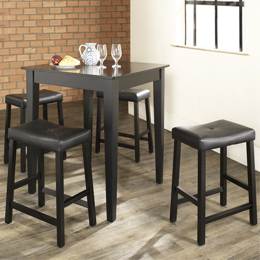 5 PIECE PUB DINING SET WITH TAPERED LEG AND UPHOLSTERED SADDLE STOOLS IN BLACK FINISH