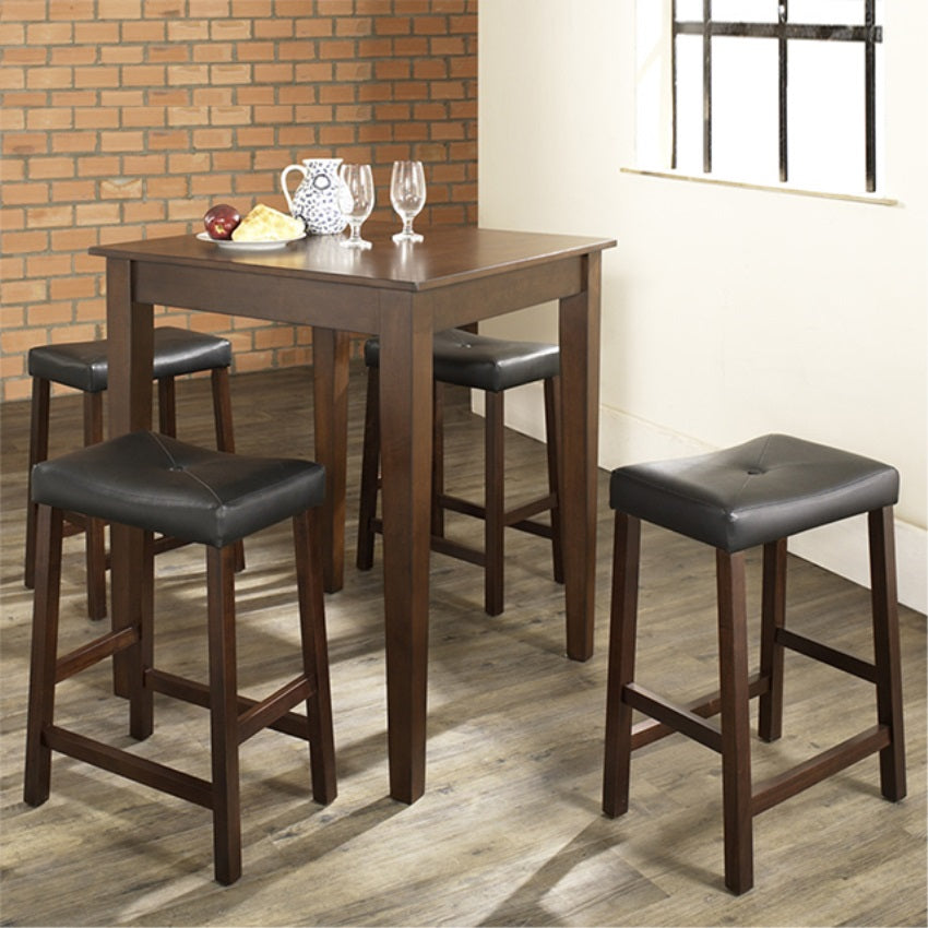 5 PIECE PUB DINING SET WITH TAPERED LEG AND UPHOLSTERED SADDLE STOOLS IN VINTAGE MAHOGANY  FINISH