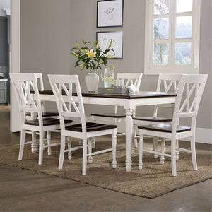 SHELBY 7 PC DINING SET IN WHITE FINISH
