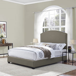 CASSIE CURVED UPHOLSTERED QUEEN BEDSET IN SHADOW GRAY LINEN