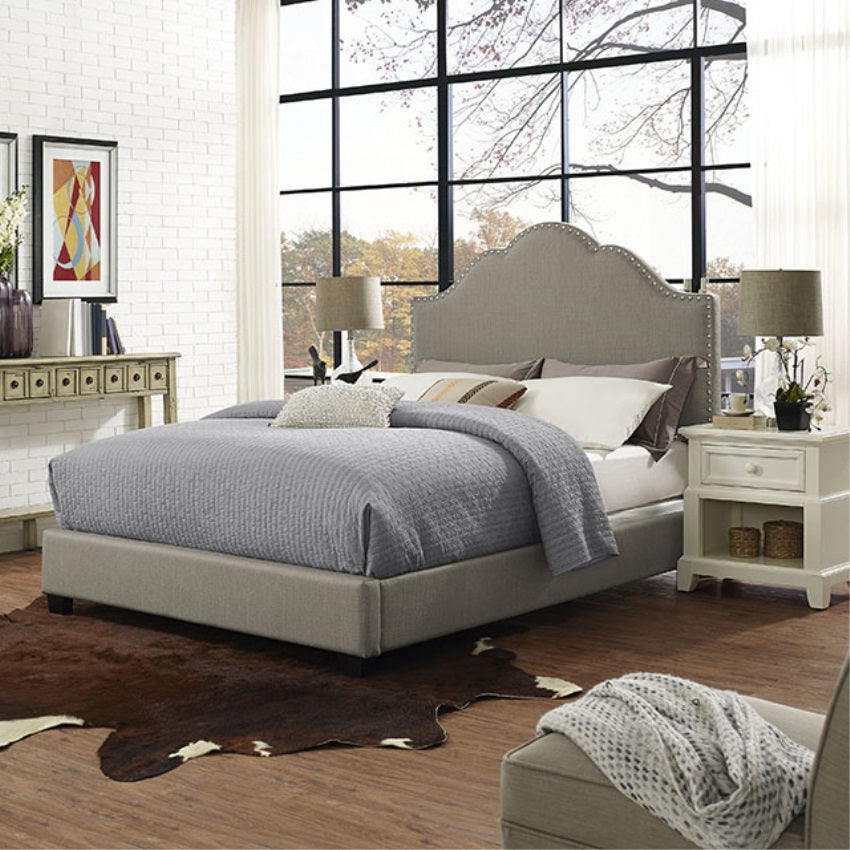 PRESTON CAMELBACK UPHOLSTERED KING BEDSET IN SHADOW GRAY LINEN