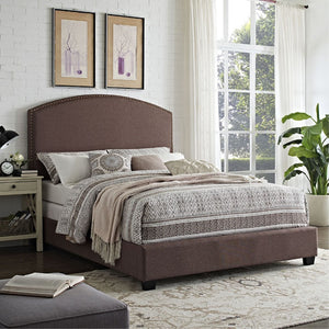 CASSIE CURVED UPHOLSTERED KING BEDSET IN BOURBON LINEN