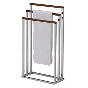 BS-1353 Towel Stand Chrome / Walnut Finish