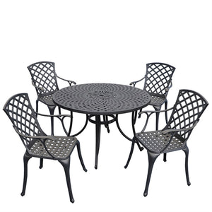 SEDONA 46inch FIVE PIECE CAST ALUMINUM OUTDOOR DINING SET WITH HIGH BACK ARM CHAIRS IN BLACK FINISH