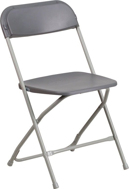 HERCULES Series 800 lb. Capacity Premium Grey Plastic Folding Chair - LE-L-3-GREY-GG