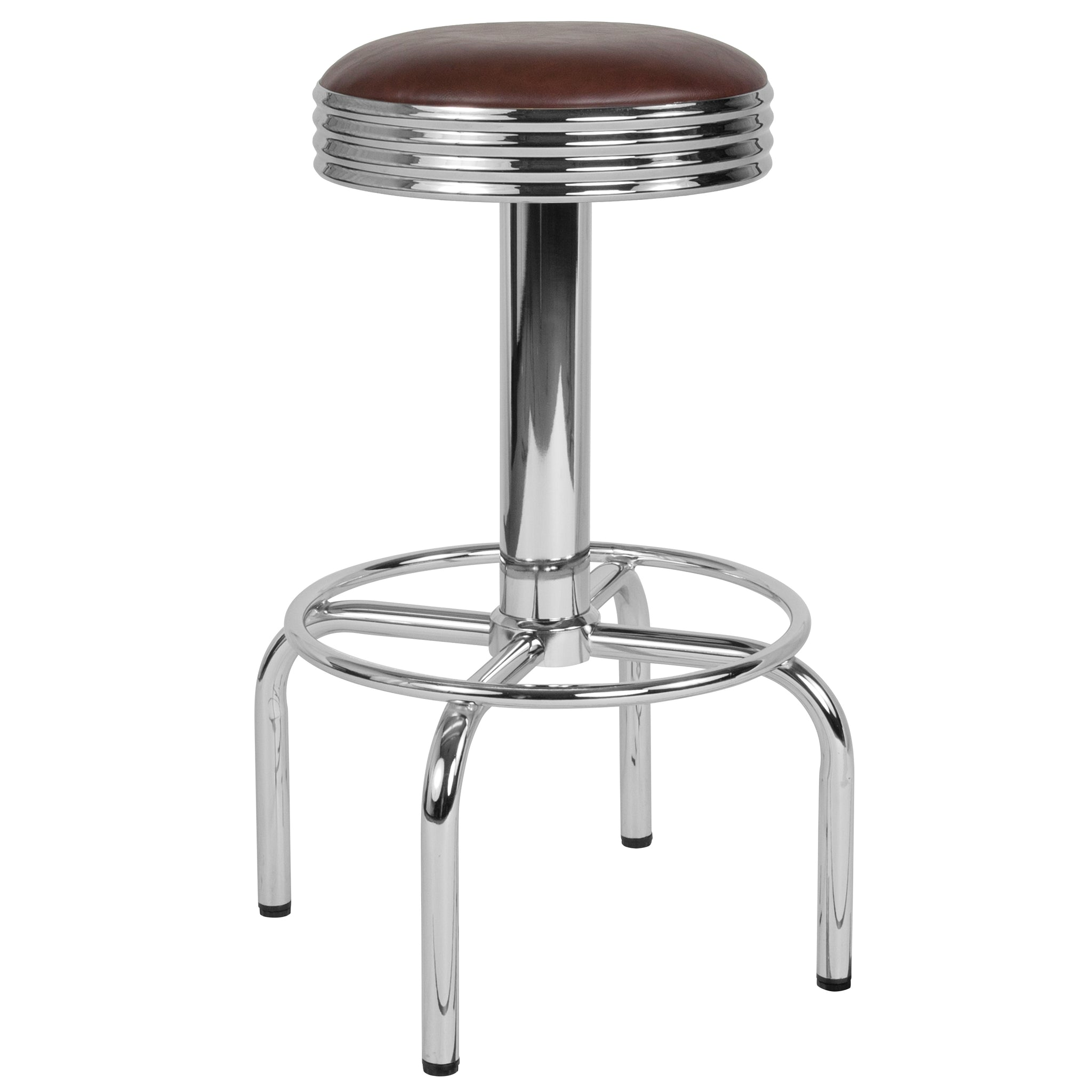 Retro Diner Barstool with Chrome Base in Brown Vinyl