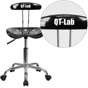 Personalized Vibrant Black and Chrome Swivel Task Chair with Tractor Seat - LF-214-BLK-TXTEMB-VYL-GG