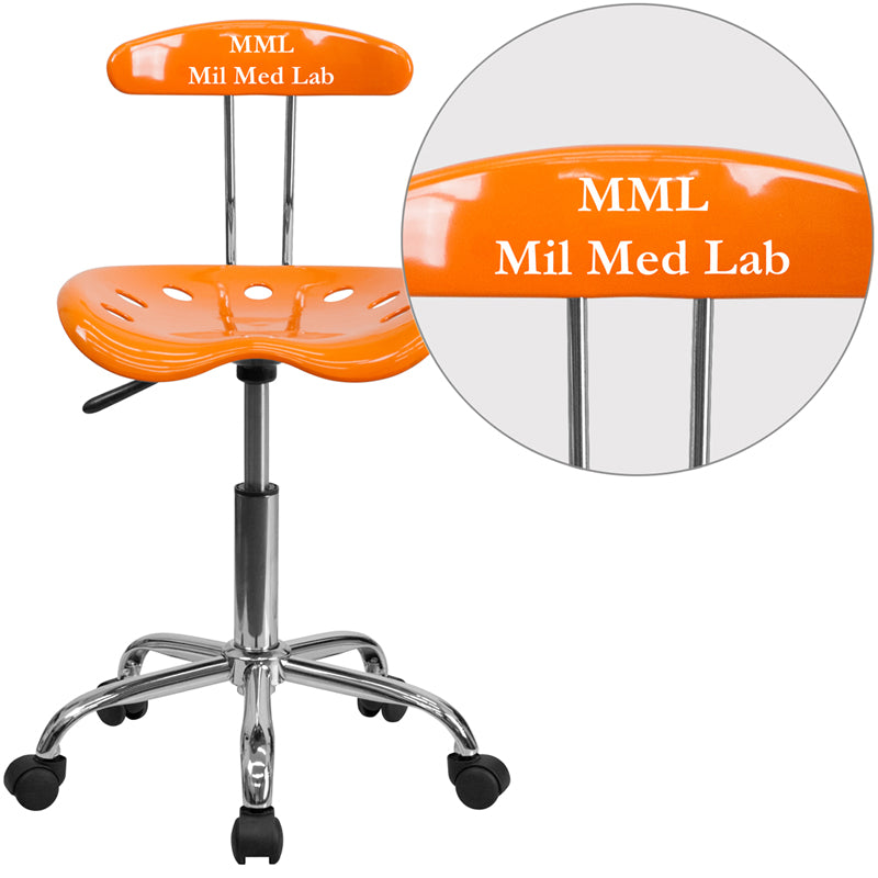 Personalized Vibrant Orange and Chrome Swivel Task Chair with Tractor Seat - LF-214-ORANGEYELLOW-TXTEMB-VYL-GG