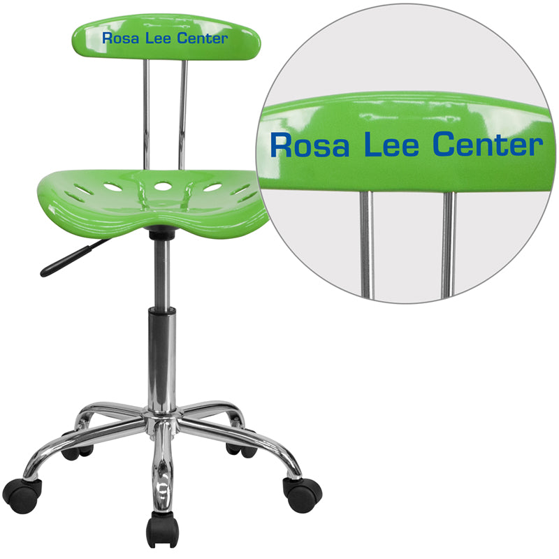 Personalized Vibrant Spicy Lime and Chrome Swivel Task Chair with Tractor Seat - LF-214-SPICYLIME-TXTEMB-VYL-GG