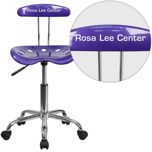Personalized Vibrant Violet and Chrome Swivel Task Chair with Tractor Seat - LF-214-VIOLET-TXTEMB-VYL-GG