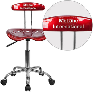 Personalized Vibrant Wine Red and Chrome Swivel Task Chair with Tractor Seat - LF-214-WINERED-TXTEMB-VYL-GG