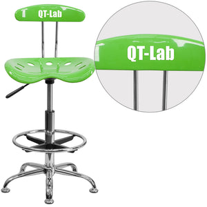 Personalized Vibrant Apple Green and Chrome Drafting Stool with Tractor Seat - LF-215-APPLEGREEN-TXTEMB-VYL-GG