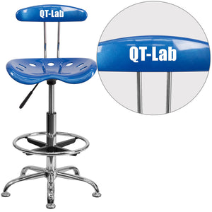 Personalized Vibrant Bright Blue and Chrome Drafting Stool with Tractor Seat - LF-215-BRIGHTBLUE-TXTEMB-VYL-GG