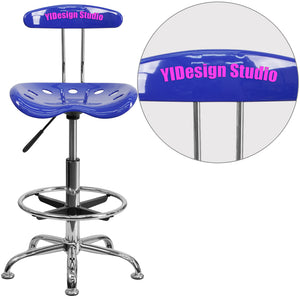 Personalized Vibrant Nautical Blue and Chrome Drafting Stool with Tractor Seat - LF-215-NAUTICALBLUE-TXTEMB-VYL-GG