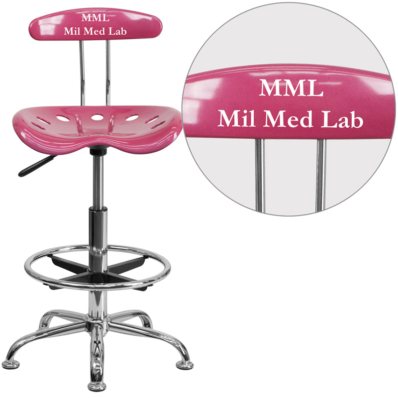Personalized Vibrant Pink and Chrome Drafting Stool with Tractor Seat - LF-215-PINK-TXTEMB-VYL-GG