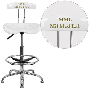 Personalized Vibrant White and Chrome Drafting Stool with Tractor Seat - LF-215-WHITE-TXTEMB-VYL-GG
