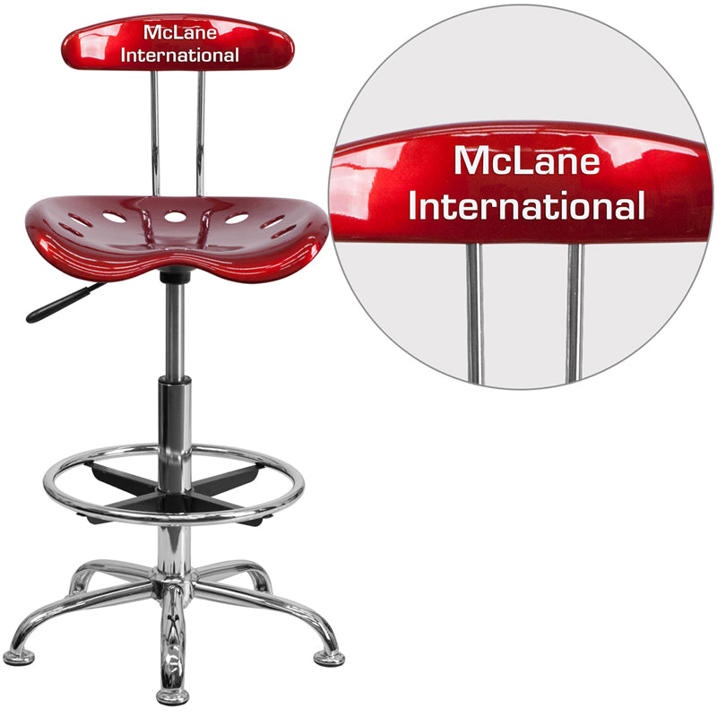 Personalized Vibrant Wine Red and Chrome Drafting Stool with Tractor Seat - LF-215-WINERED-TXTEMB-VYL-GG
