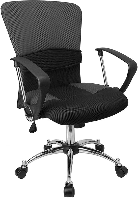 Mid-Back Grey Mesh Swivel Task Chair with Arms