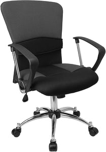Mid-Back Grey Mesh Swivel Task Chair with Arms - LF-W23-GREY-GG
