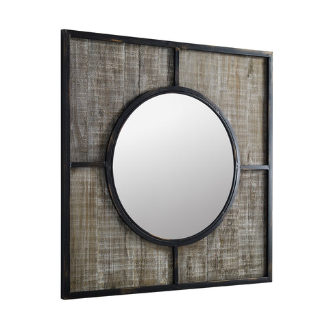 "32"" Square metal and wood frame with circle mirror"