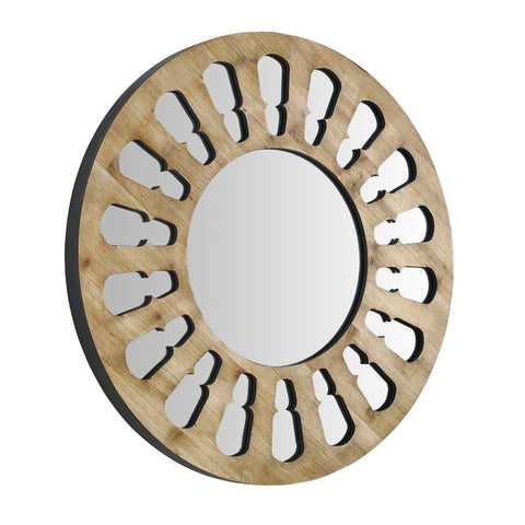 32inch Round Wood Cut-Out Mirror