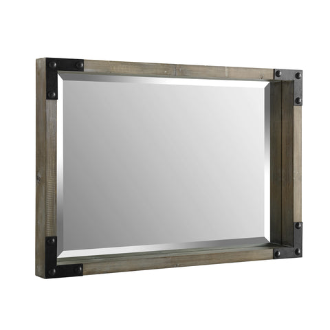 "36"" Rectangle Wood Mirror w/ Metal Corner Brackets"