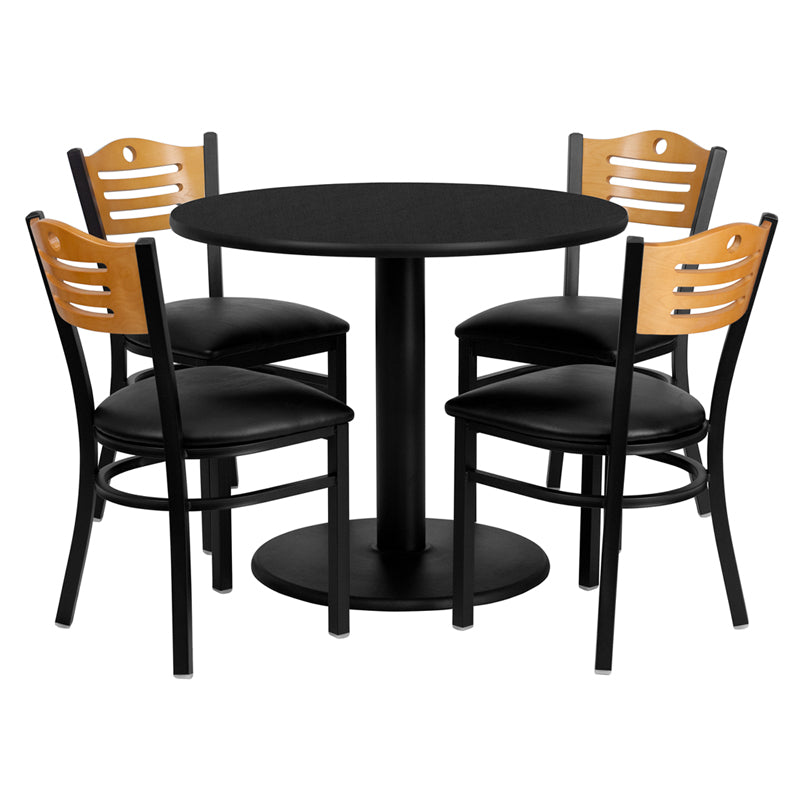 36'' Round Black Laminate Table Set with 4 Wood Slat Back Metal Chairs - Black Vinyl Seat