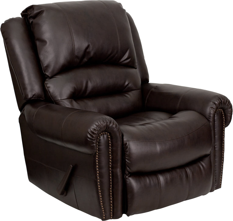 Flash Furniture MEN-DSC01056-BRN-GG Plush Brown Leather Rocker Recliner