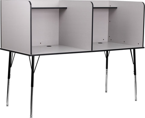 Double Wide Study Carrel with Adjustable Legs and Top Shelf in Nebula Grey Finish - MT-M6222-GRY-DBL-GG
