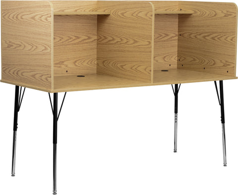 Double Wide Study Carrel with Adjustable Legs and Top Shelf in Oak Finish - MT-M6222-OAK-DBL-GG