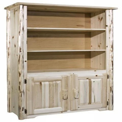 Montana Collection Bookcase with Storage, Clear Lacquer Finish