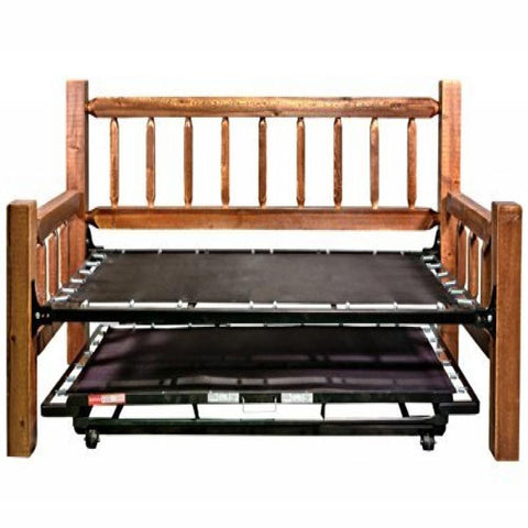 Homestead Collection Day Bed w/ Pop Up Trundle Bed, Stain & Clear Lacquer Finish