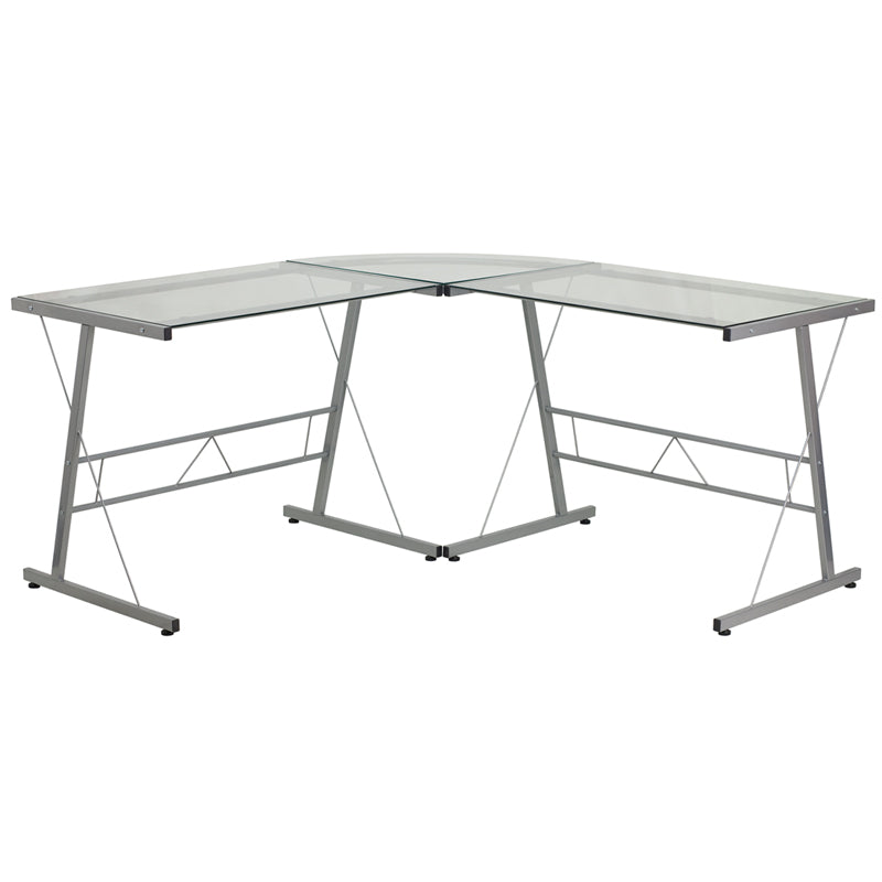 Glass L-Shape Computer Desk with Silver Frame Finish - NAN-CD-22181-GG
