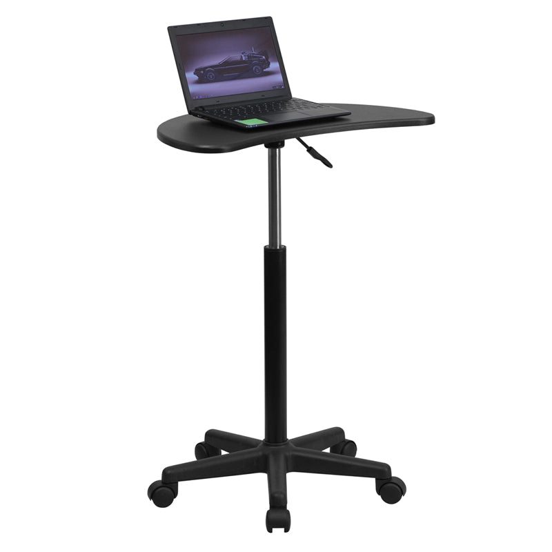 Height Adjustable Mobile Laptop Computer Desk with Black Top - NAN-JN-2792-GG