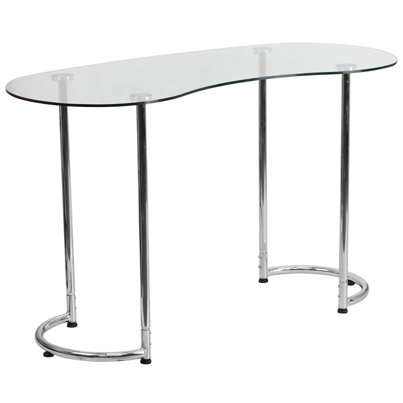 Contemporary Desk with Clear Tempered Glass