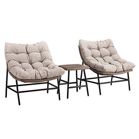 Transitional Outdoor Rounded Scoop Chair Set with Side Table