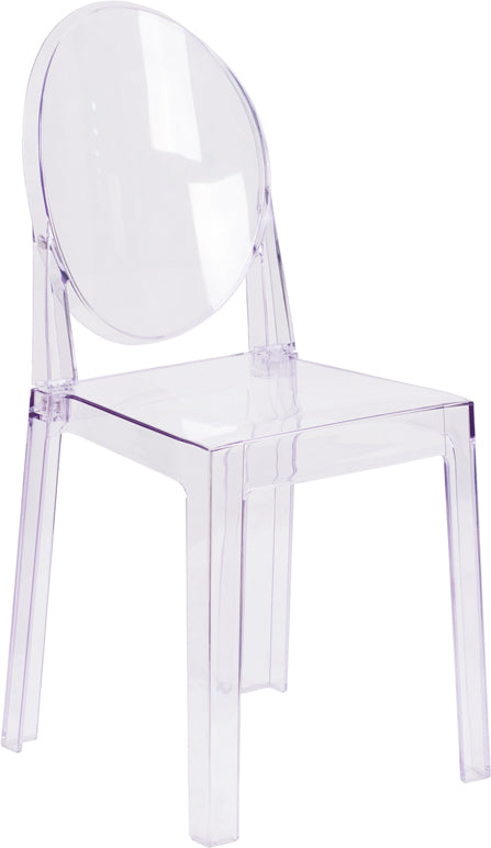 Ghost Chair with Oval Back in Transparent Crystal - OW-GHOSTBACK-18-GG