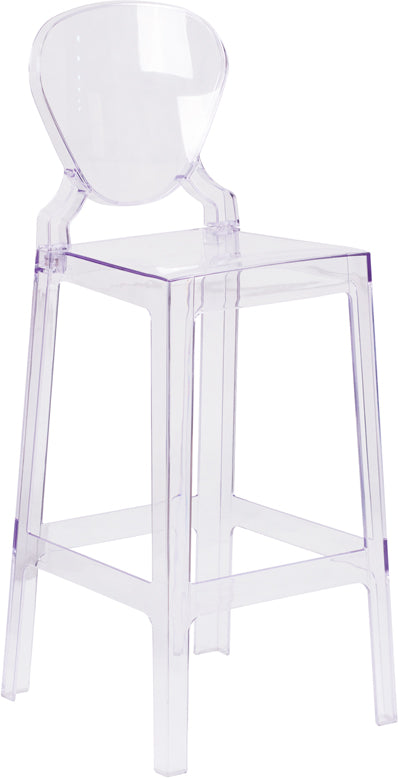 Ghost Barstool with Tear Back in Transparent Crystal - OW-TEARBACK-29-GG