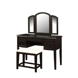 Antique Black with Sand Through Terra Cotta Vanity, Mirror & Bench