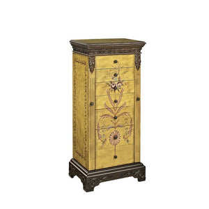 "Masterpiece ""Antique Parchment"" Hand Painted Jewelry Armoire - Overpacked"