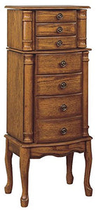 Woodland Oak Jewelry Armoire - overpacked