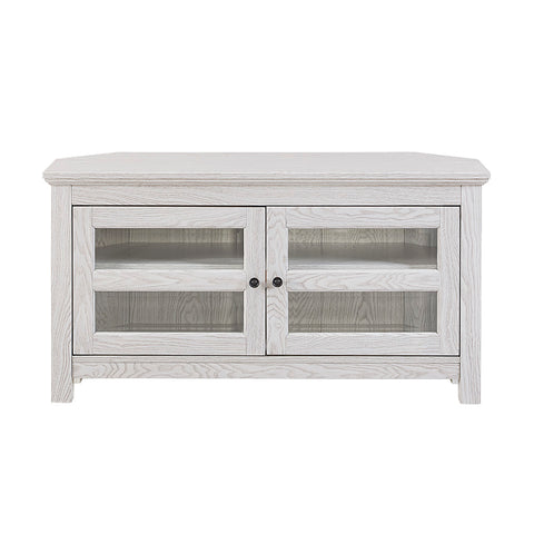 "44"" Wood Corner TV Media Stand Storage Console - White"