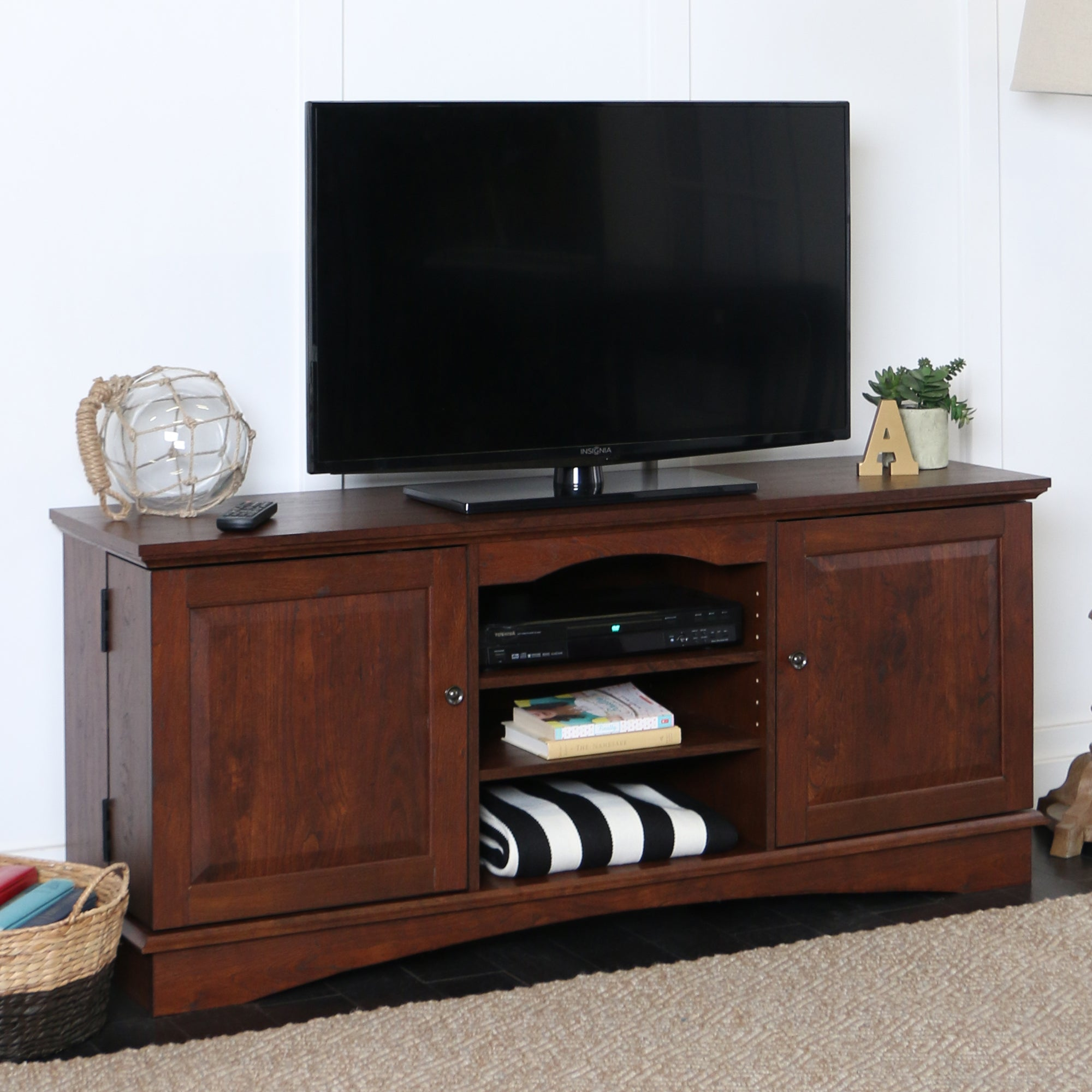 "60"" Wood TV Media Stand Storage Console - Brown"