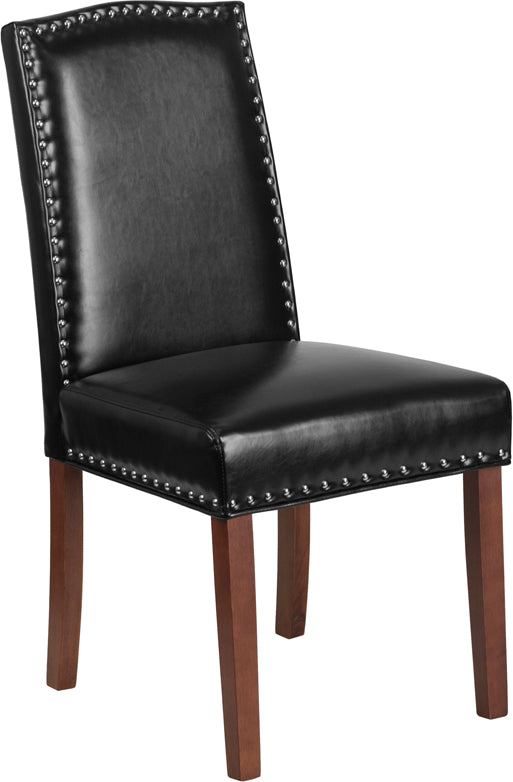 HERCULES Hampton Hill Series Black Leather Parsons Chair with Silver Nail Heads