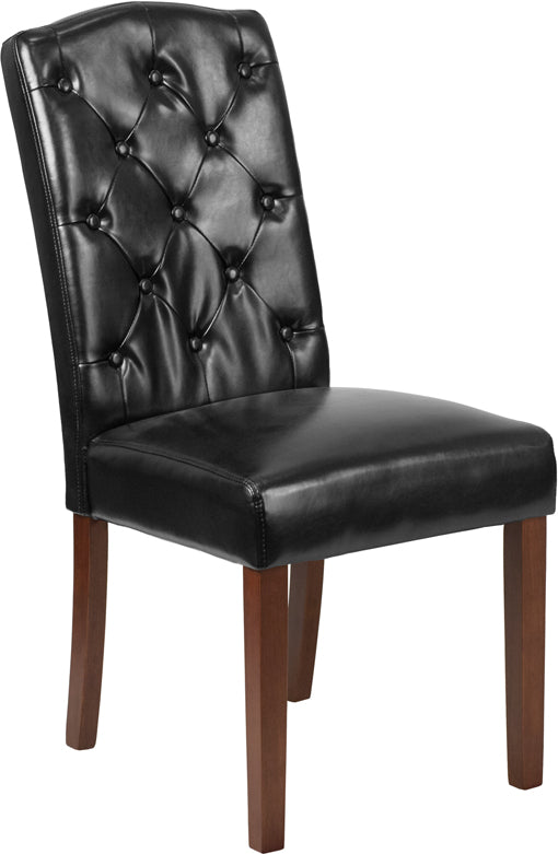 Grove Park Series Black Leather Tufted Parsons Chair