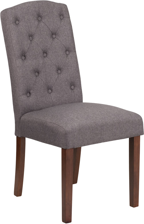 Grove Park Series Gray Fabric Tufted Parsons Chair