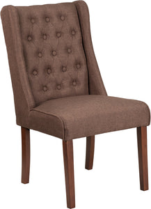 HERCULES Preston Series Brown Fabric Tufted Parsons Chair